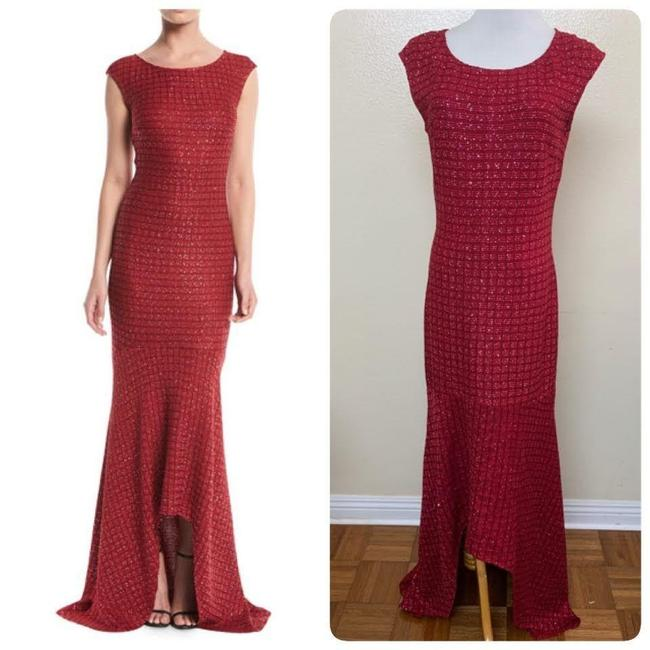 Item - Red Sprinkled Sequin Lattice Knit Gown Long Formal Dress Size 4 (S)