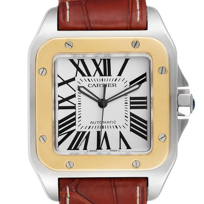 Item - Silver Santos 100 Steel Yellow Gold 38mm Dial Mens W2007 Watch