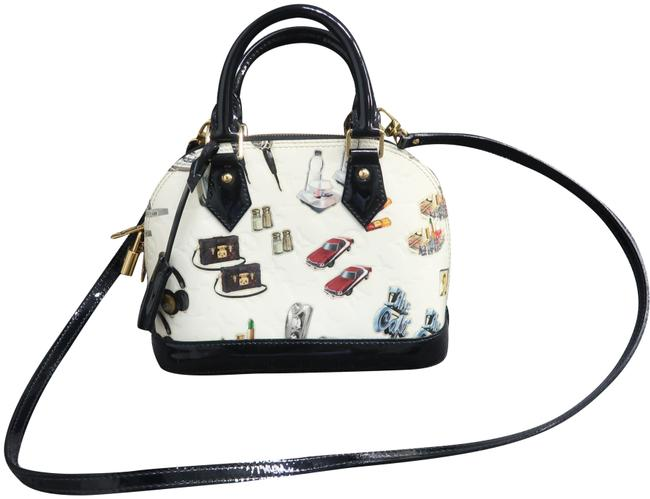 Item - Alma Bb Sticker White and Multicolor Vernis Leather Satchel