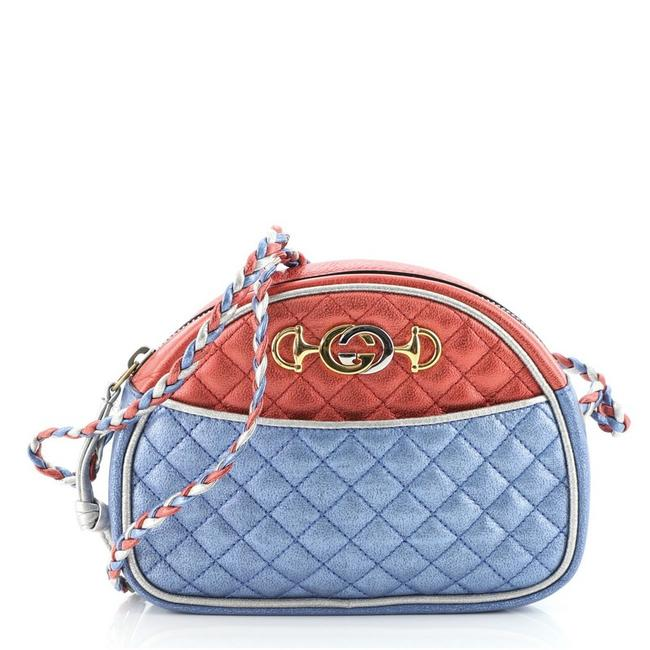 Item - Trapuntata Camera Quilted Laminated Leather Mini Blue Red Silver Shoulder Bag