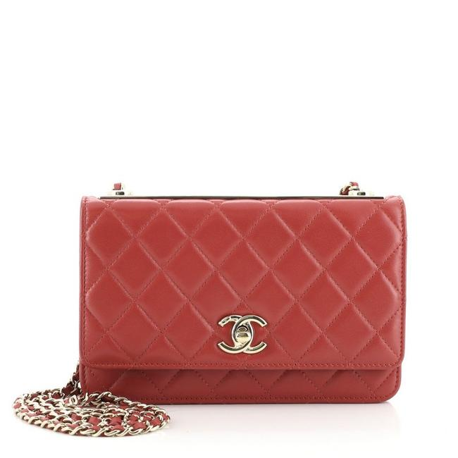 Item - Wallet on Chain Trendy Cc Quilted Lambskin Red Leather Cross Body Bag