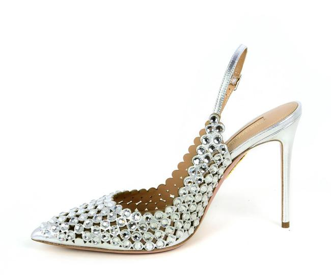 Item - Silver New Tequila Crystal-embellished Leather Slingback Pumps Size EU 39.5 (Approx. US 9.5) Regular (M, B)