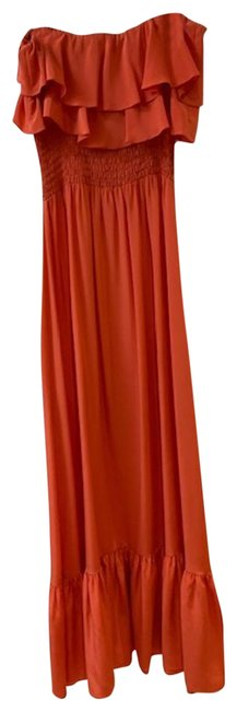 Item - Coral Silk Strapless Long Night Out Dress Size 2 (XS)
