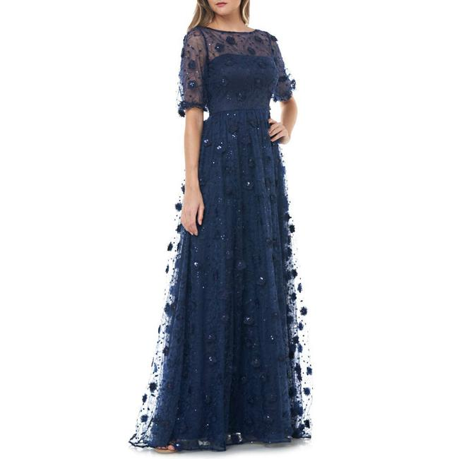 Item - Blue Infusion 3d Embroidered Gown Long Formal Dress Size 8 (M)