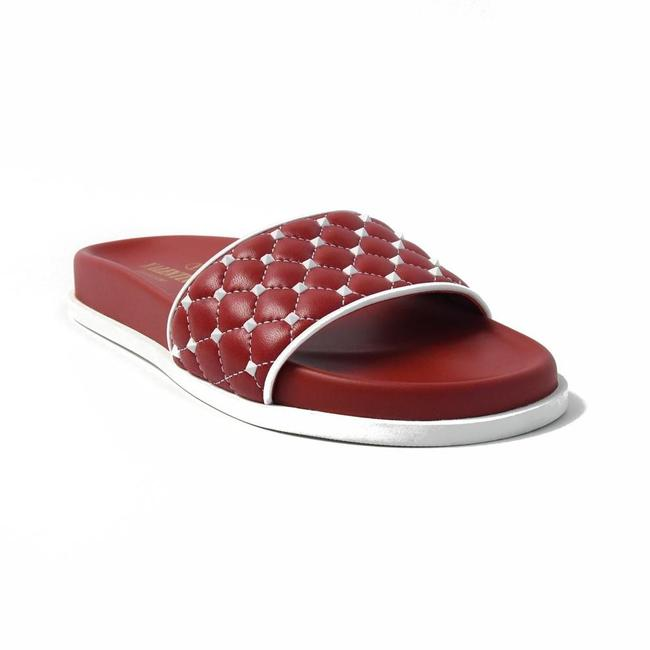Item - Red Quilted Studded Slider Sandals Size EU 36 (Approx. US 6) Regular (M, B)