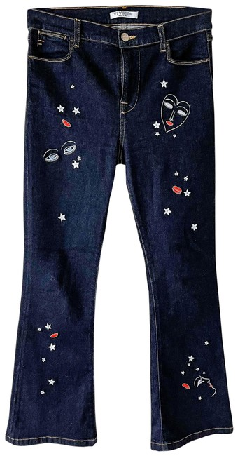 Item - Dark Rinse Face Embroidered Wash Flare Leg Jeans Size 2 (XS, 26)