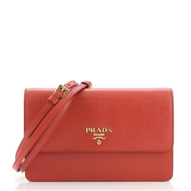 Item - Flap Vitello Move Small Red Leather Cross Body Bag