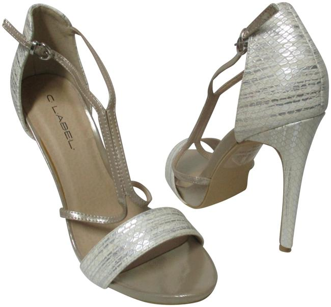 Item - Ivory & Silver Pearl Strappy Heels Faux Leather New Pumps Size US 8 Regular (M, B)