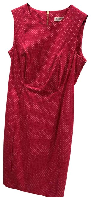 Item - Hot Pink and White Polkadot Cdceh923 Mid-length Work/Office Dress Size 6 (S)