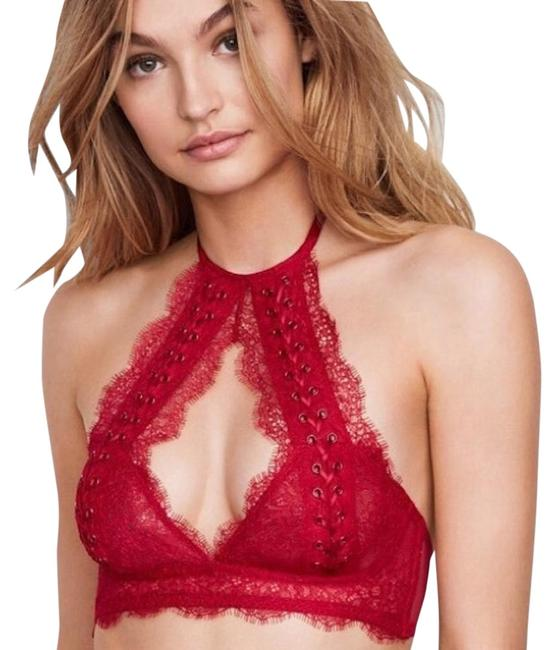 Item - Red XS New Lace Up Halter Bralette Activewear Sports Bra Size 2 (XS, 26)