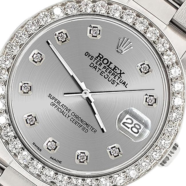 Item - Stainless Steel Datejust Midsize 31mm 1.52ct Bezel/Silver Dial Oyster Watch