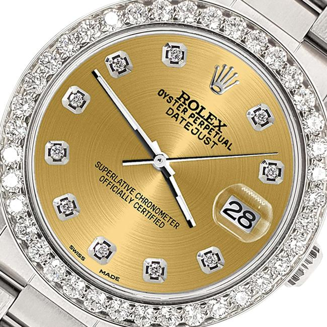 Item - Stainless Steel Datejust Midsize 31mm 1.52ct Bezel/Champagne Dial Oyster Watch