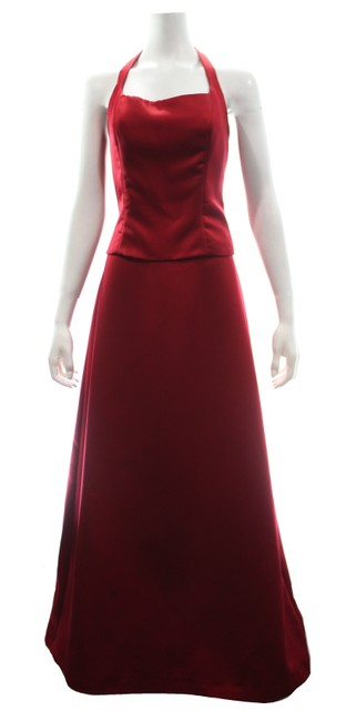 Item - Red Two Piece Skirt and Halter Top Long Formal Dress Size 10 (M)
