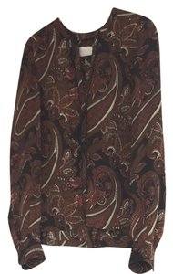 A.L.C. Top Black with Brown, Beige, And Orange Pattern