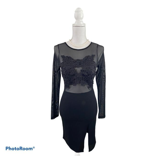 Item - Black Long Sleeve Embroidered Body Con Short Night Out Dress Size 8 (M)