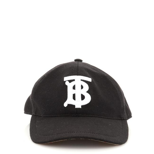 Item - Black Tb Logo Baseball Cap Embroidered Canvas with Vintage Check Canvas Hat