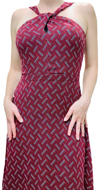 Item - Red and Blue Mid-length Cocktail Dress Size 2 (XS)