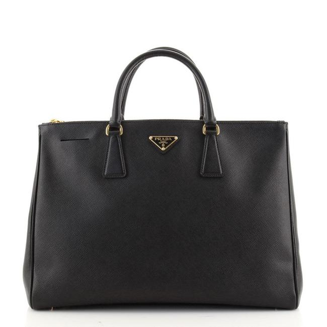 Item - Double Lux Zip Saffiano Large Black Leather Tote