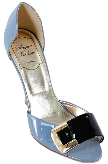 Roger Vivier Patent Leather Patent Buckle D'orsay Gold Hardware Geometric Stiletto Peep Toe Blue, Baby Blue Pumps