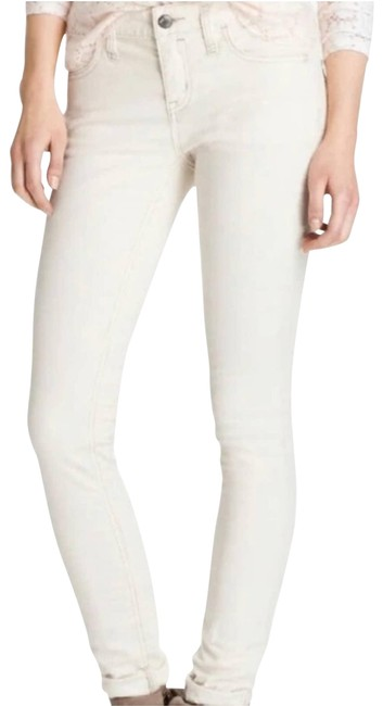Item - White Low-rise Hipster Corduroy Leg Skinny Jeans Size 28 (4, S)