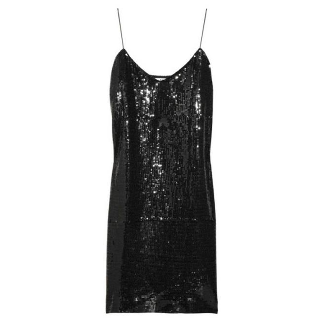 Item - Black Sequined Spaghetti Strap Slip Women's Msrp 370 Night Out Dress Size 4 (S)