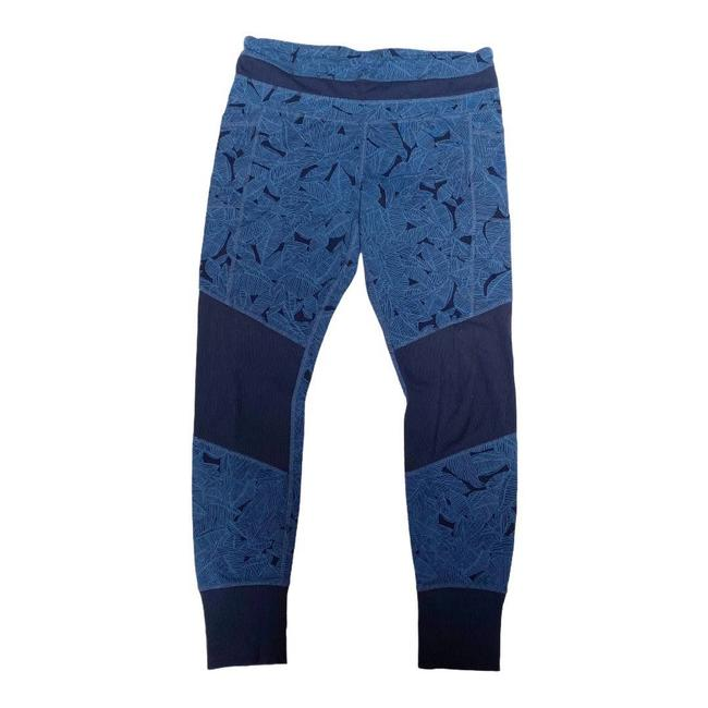 Item - Blue Excursion L Leaf Print Ribbed Accent Tights Activewear Bottoms Size 12 (L, 32, 33)