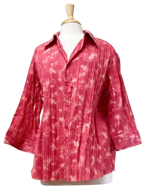 Item - Pink Printed Button Up 3/4 Sleeve 2x Button-down Top Size 22 (Plus 2x)