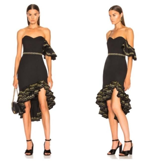 Item - Black Cam Ruffle Embroidered Short Cocktail Dress Size 12 (L)