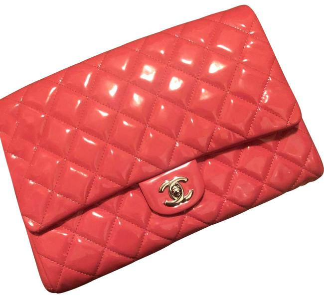 Item - Chain Quilted Pink Patent Leather Clutch