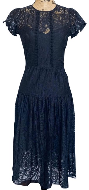 Item - Black 5th Ave Lace Midi Work/Office Dress Size 6 (S)