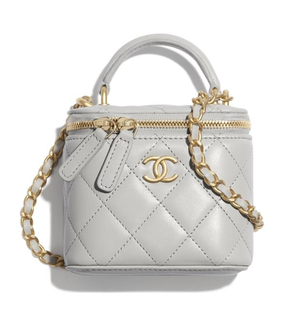 Item - Case Crossbody 21a Mini Vanity with Chain Top Handle Cc Grey Lambskin Leather Shoulder Bag