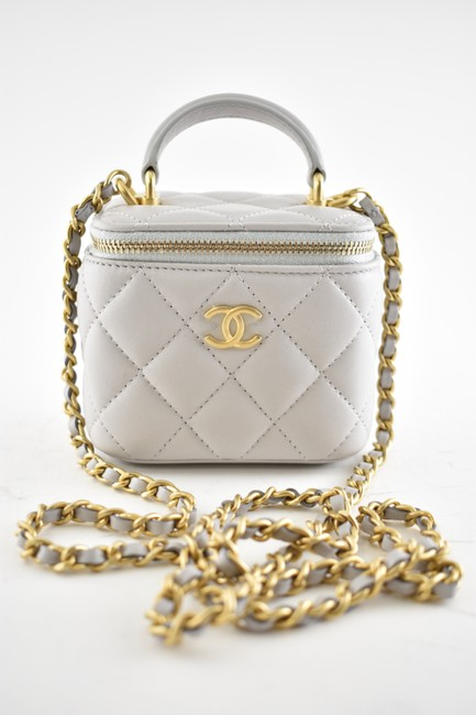 Chanel Case Crossbody 21a Mini Vanity with Chain Top Handle Cc Grey Lambskin Leather Shoulder Bag Chanel Case Crossbody 21a Mini Vanity with Chain Top Handle Cc Grey Lambskin Leather Shoulder Bag Image 2
