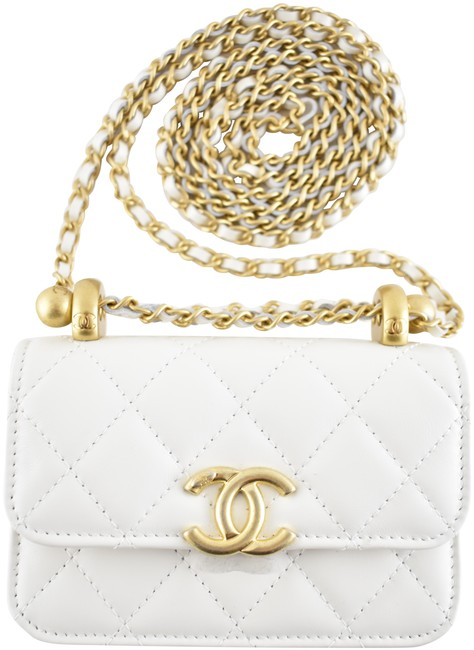 Item - Wallet on Crossbody Belt 21a Mini Flap Coin Purse with Chain White Calfskin Leather Shoulder Bag