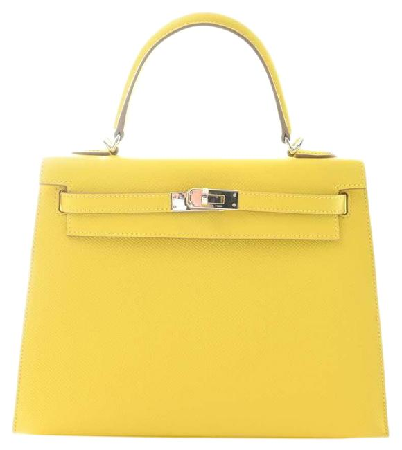 Item - Bag Kelly Vaux Epson Serie 25 Yellow Leather Tote