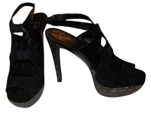 Jessica Simpson Black Suede/Patent and gold textured heel Platforms