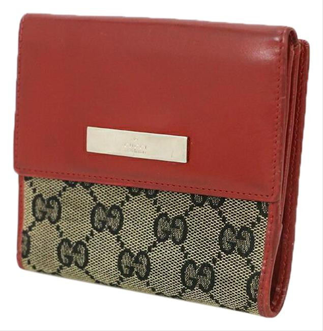 Item - Beige / Red Color Gg Pattern Canvas Leather Bi-fold Ladies Coin Purse Wallet