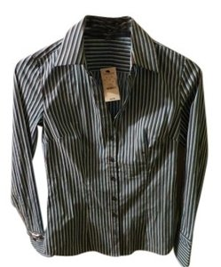 Express Fitted Striped Button Down Top Turquiose, Blue White