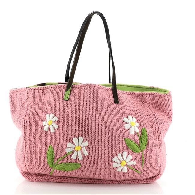 Item - Roll Embroidered Cable Knit Fabric Large Pink Textile Tote