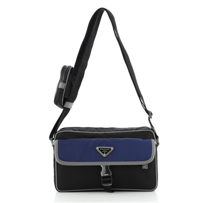 Item - Buckle Front Pocket Tessuto with Saffiano Leather Small Black Blue Nylon Cross Body Bag