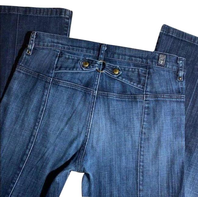 Item - Blue Dark Rinse With Back Buckle Flare Leg Jeans Size 26 (2, XS)