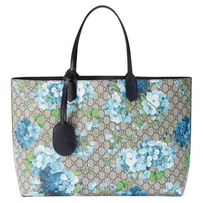 Item - Bag New Floral Reversible Leather Purse Blue Gg Supreme Canvas Tote