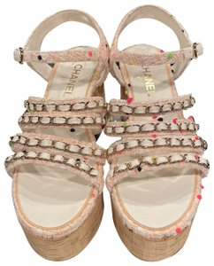 Chanel tweed coral/white/green/black Sandals