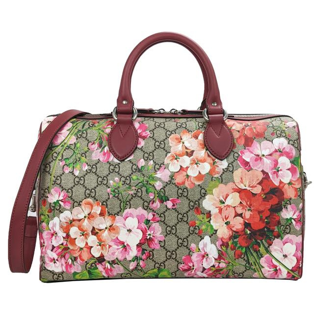 Item - Boston Blooms Taupe Brown Gg Supreme Pink and Beige Canvas Satchel