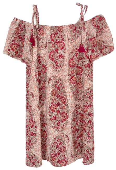 Item - Red Silk Cold Shoulder In Watercolor Paisley S Pink Short Casual Dress Size 4 (S)