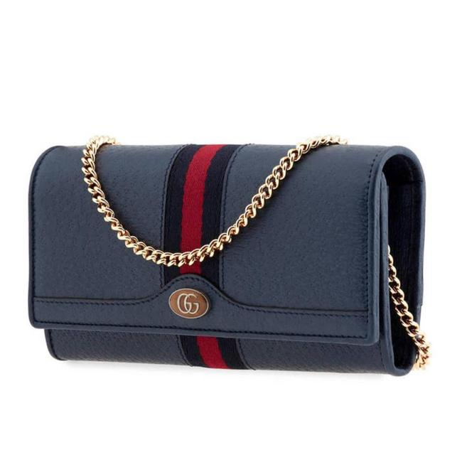 Item - Ophidia Leather Chain Continental Wallet Blue Cross Body Bag