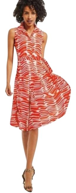 Item - Red/White Brushstroke Drop Mid-length Short Casual Dress Size 6 (S)