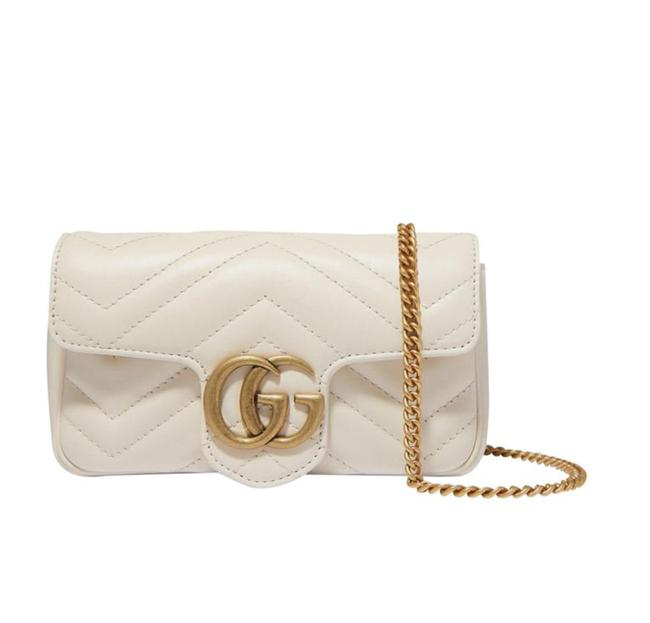 Item - Marmont Gg Super Mini Quilted White Leather Cross Body Bag