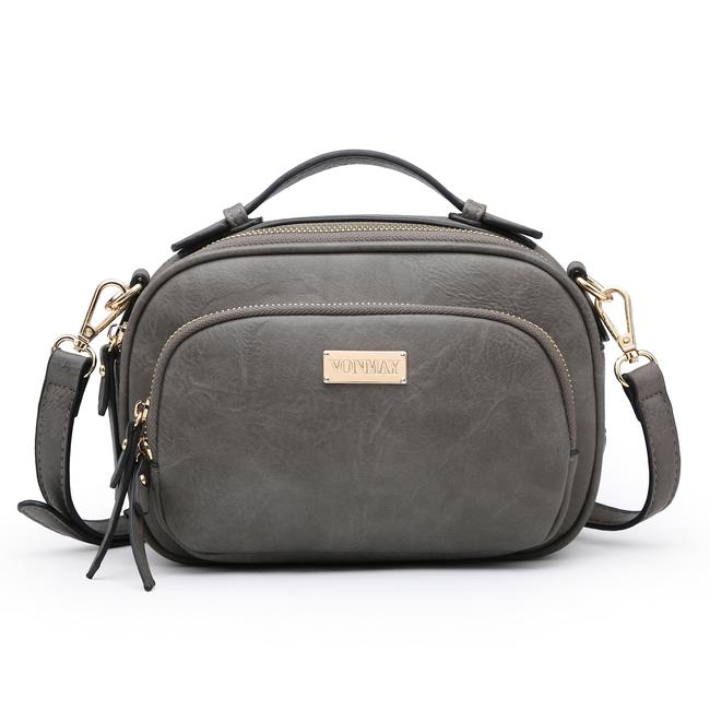 Item - Messenger Multi Zipped Compartment Crossbody/ Gray Faux Leather Cross Body Bag