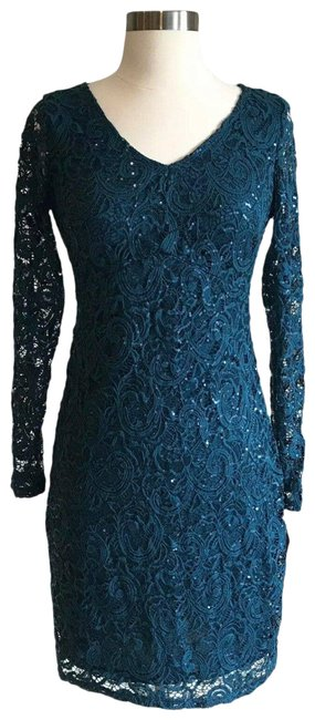 Item - Blue Teal Sequined Lace Long Sleeve Cocktail Dress Size 4 (S)