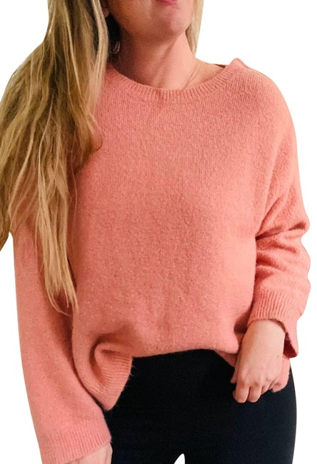 Item - Leith Snap Collar Button Boxy Small Pink Sweater